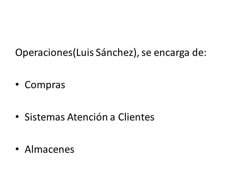 Operaciones(Luis Sánchez), se encarga de: