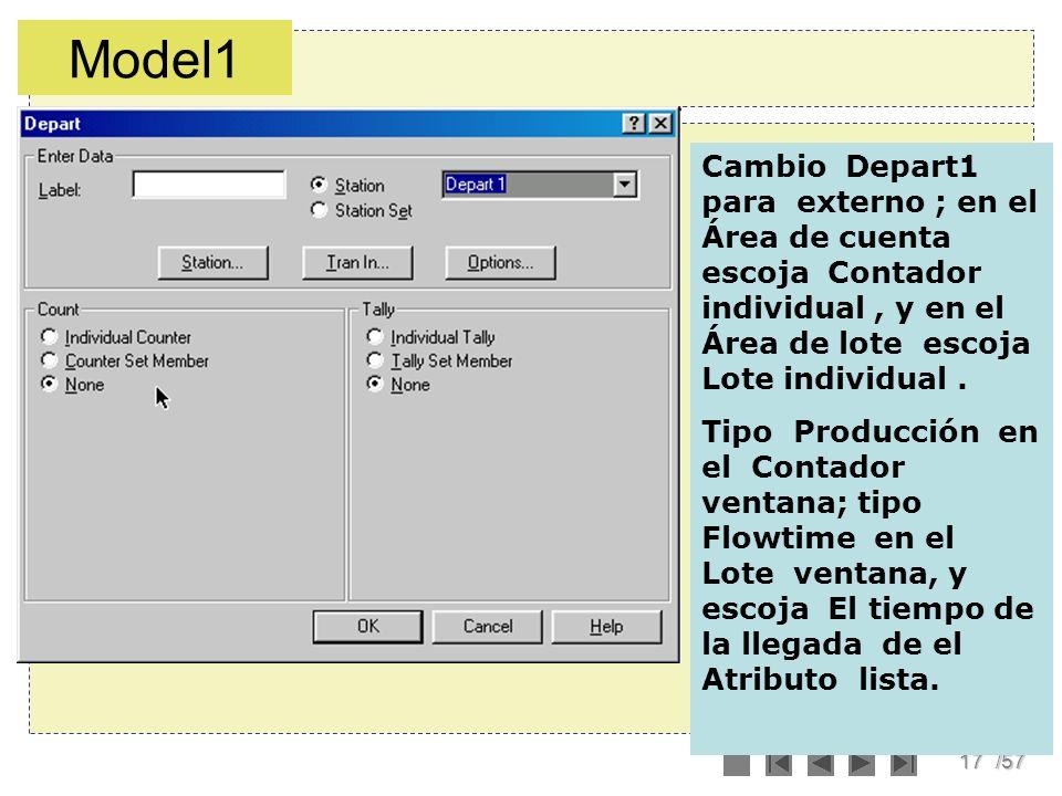 Model1 Cambio Depart1 para externo ; en el Área de cuenta escoja Contador individual , y en el Área de lote escoja Lote individual .