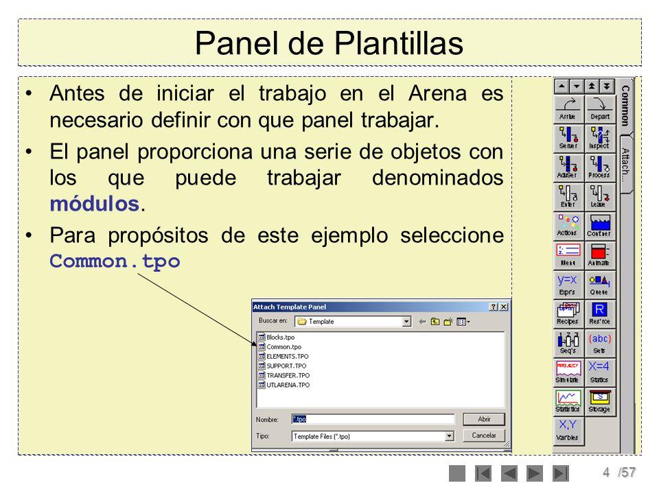 Panel de Plantillas Antes de iniciar el trabajo en el Arena es necesario definir con que panel trabajar.