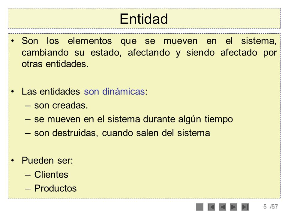 EntidadSon los elementos que se mueven en el sistema, cambiando su estado, afectando y siendo afectado por otras entidades.