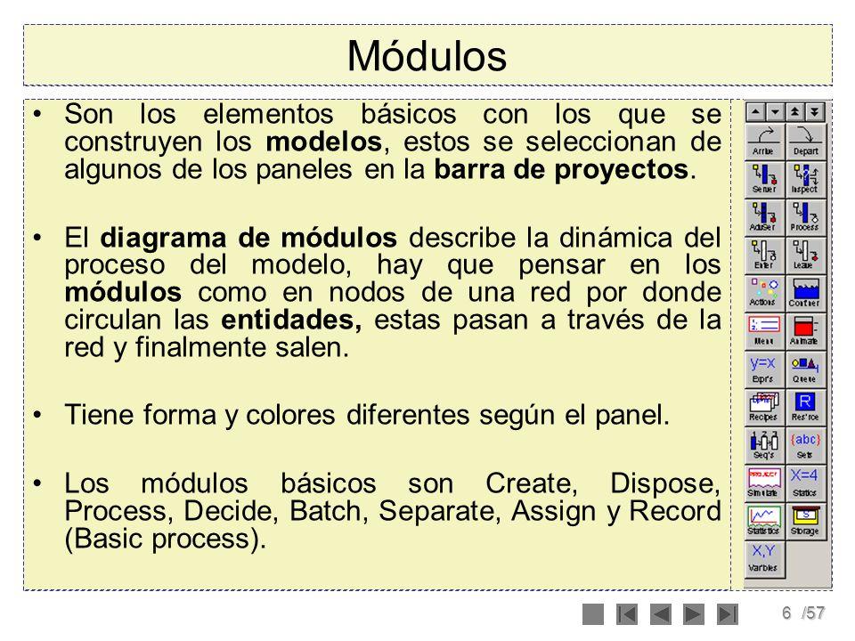 MódulosSon los elementos básicos con los que se construyen los modelos, estos se seleccionan de algunos de los paneles en la barra de proyectos.