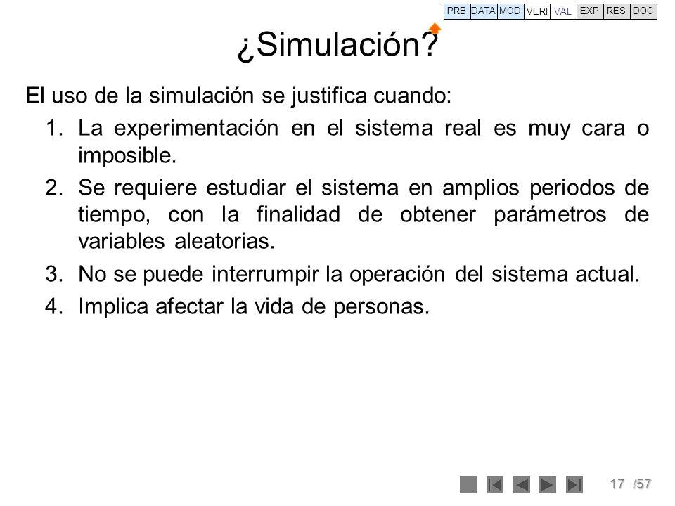 ¿Simulación El uso de la simulación se justifica cuando: