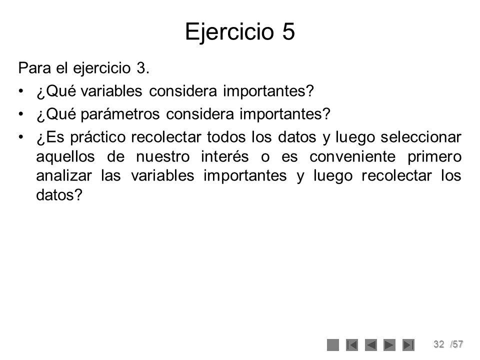 Ejercicio 5 Para el ejercicio 3. ¿Qué variables considera importantes