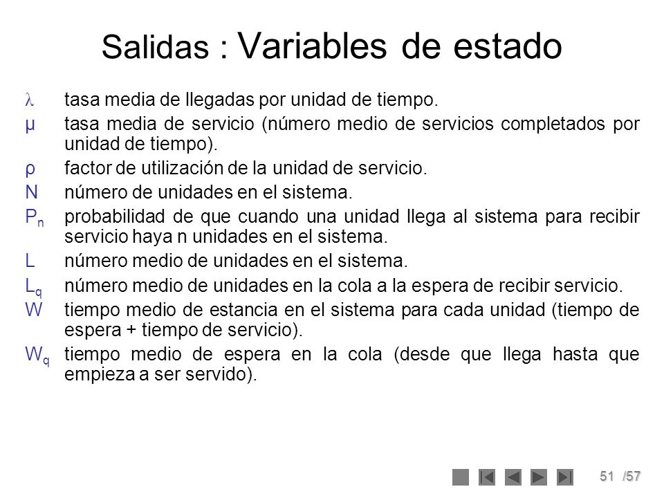 Salidas : Variables de estado