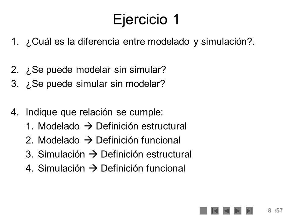 Ejercicio 1 ¿Cuál es la diferencia entre modelado y simulación .