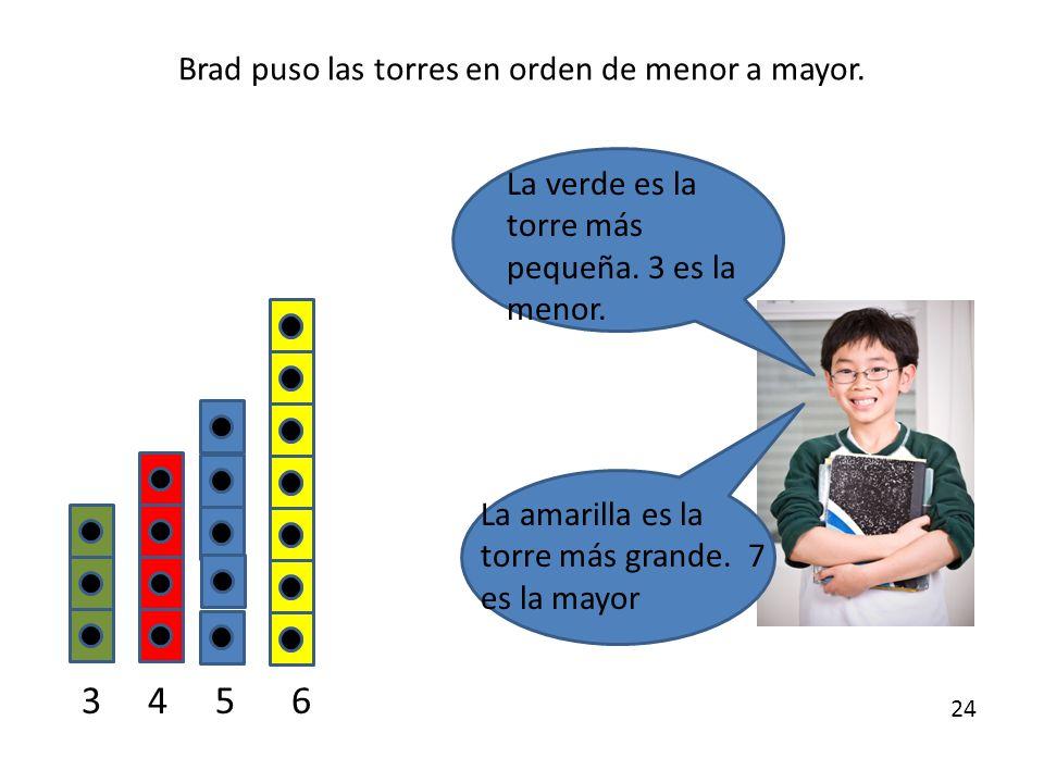Brad puso las torres en orden de menor a mayor.