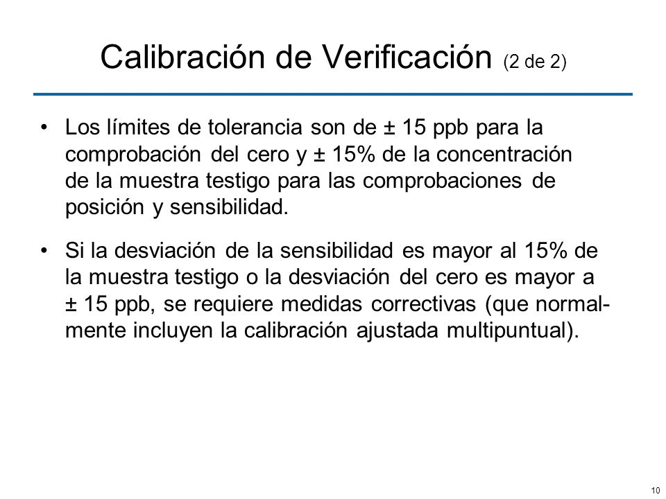 Calibración de Verificación (2 de 2)