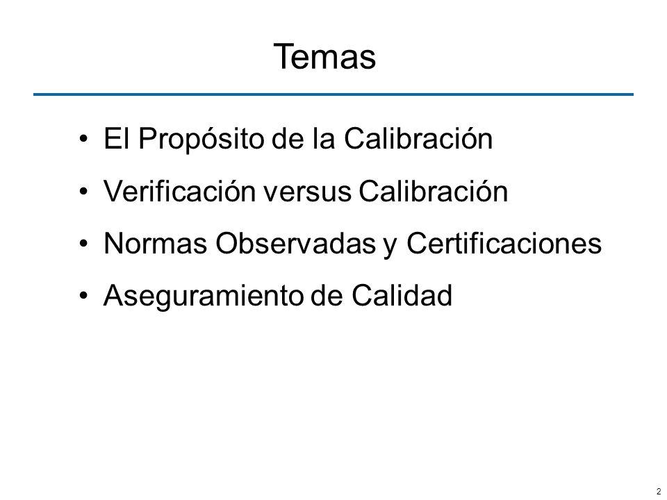 Temas El Propósito de la Calibración Verificación versus Calibración