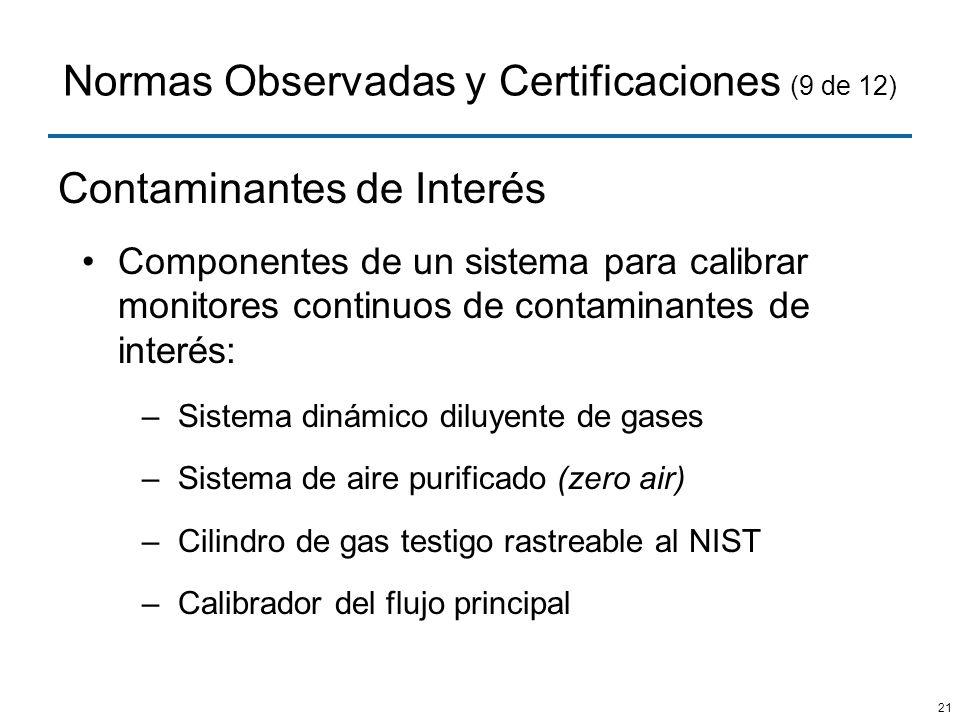 Normas Observadas y Certificaciones (9 de 12)