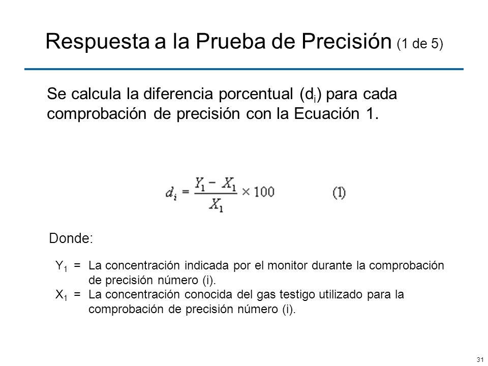 Respuesta a la Prueba de Precisión (1 de 5)