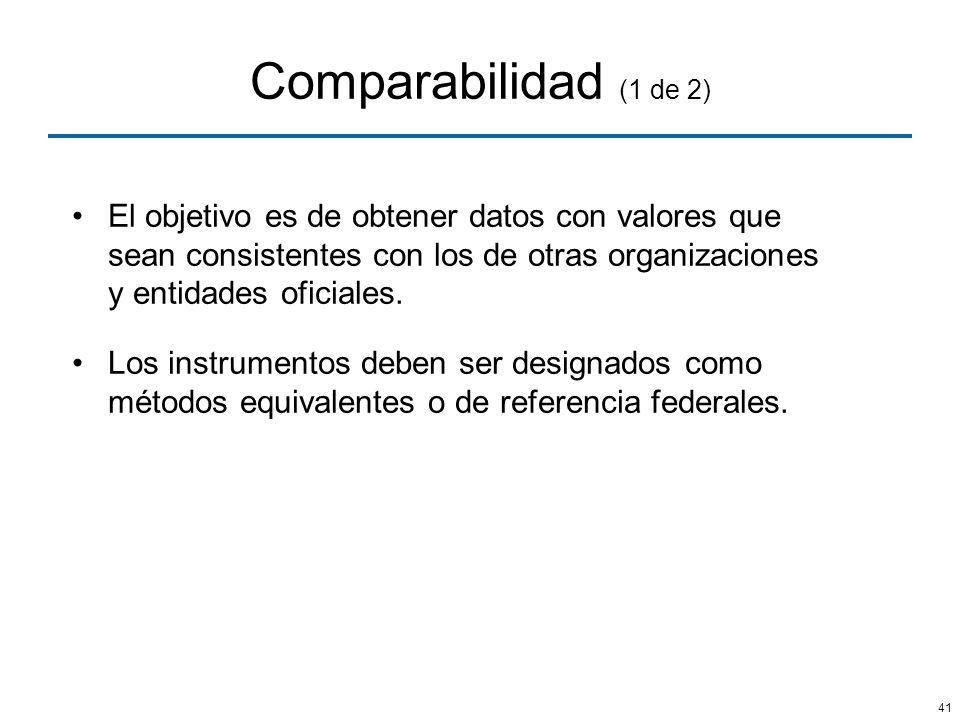 Comparabilidad (1 de 2) El objetivo es de obtener datos con valores que sean consistentes con los de otras organizaciones y entidades oficiales.