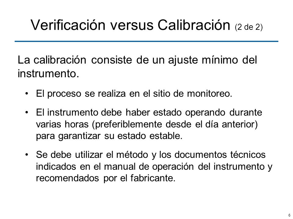 Verificación versus Calibración (2 de 2)