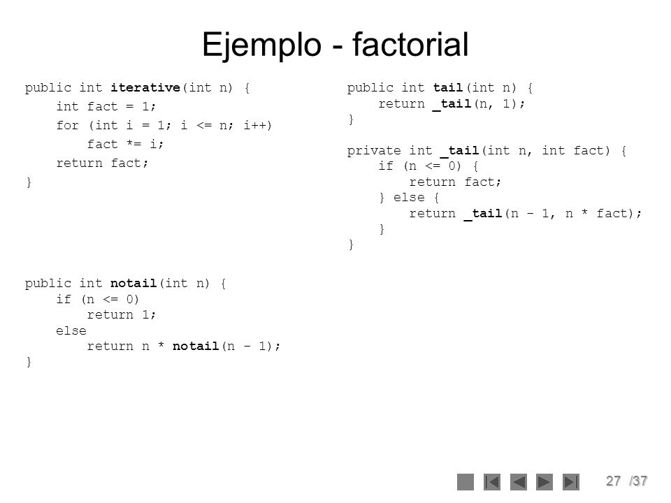 Ejemplo - factorial public int iterative(int n) { int fact = 1;