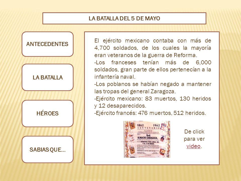 LA BATALLA DEL 5 DE MAYO ANTECEDENTES.