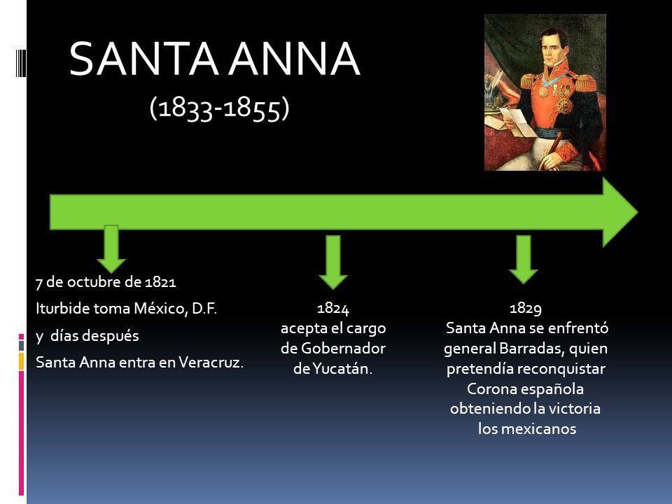 SANTA ANNA (1833-1855) 7 de octubre de 1821 Iturbide toma México, D.F. y días después Santa Anna entra en Veracruz.
