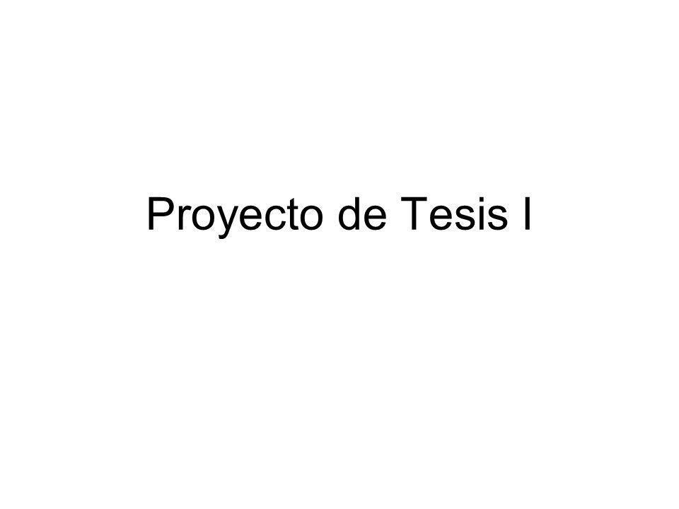 Proyecto de Tesis I