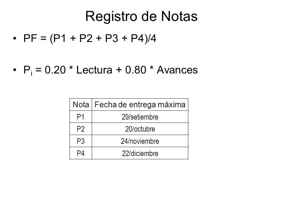 Registro de Notas PF = (P1 + P2 + P3 + P4)/4