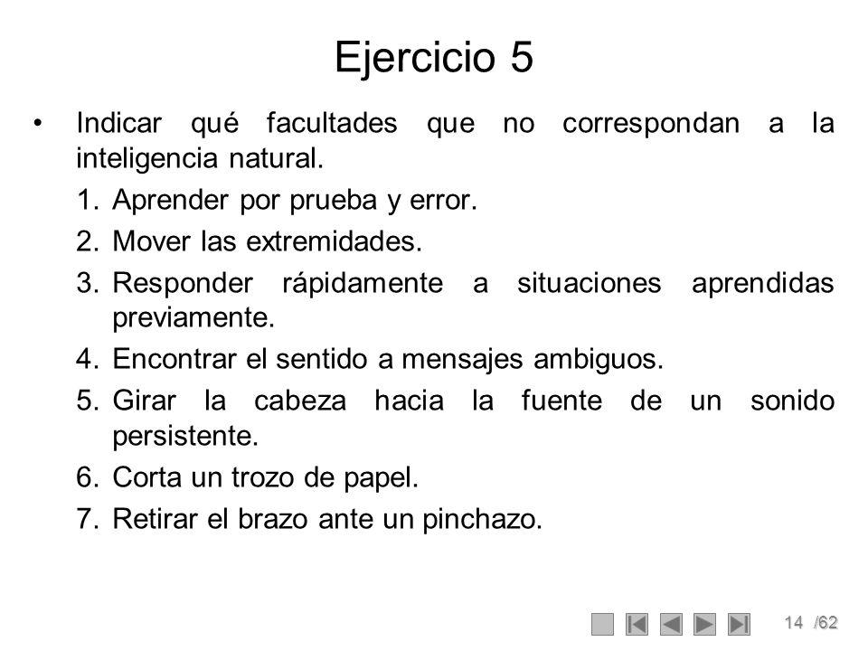Ejercicio 5 Indicar qué facultades que no correspondan a la inteligencia natural. Aprender por prueba y error.