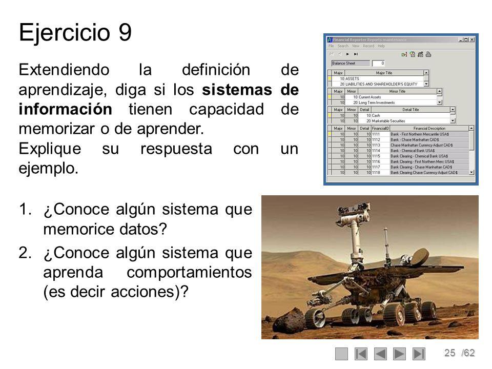 Ejercicio 9 Extendiendo la definición de aprendizaje, diga si los sistemas de información tienen capacidad de memorizar o de aprender.