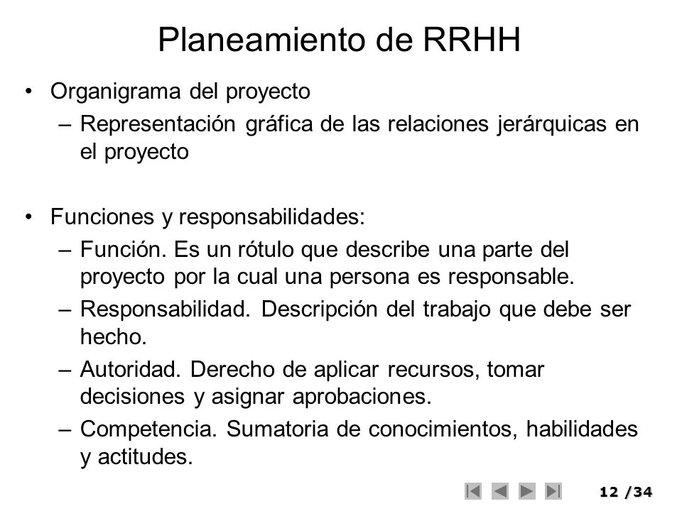 Planeamiento de RRHH Organigrama del proyecto