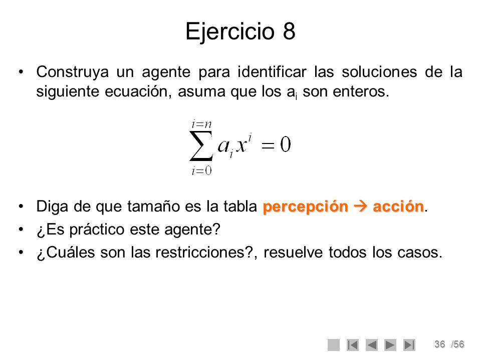 Ejercicio 8Construya un agente para identificar las soluciones de la siguiente ecuación, asuma que los ai son enteros.