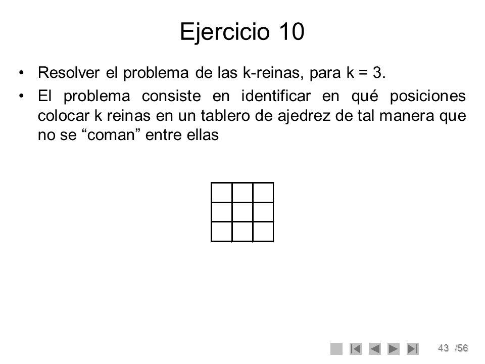 Ejercicio 10 Resolver el problema de las k-reinas, para k = 3.