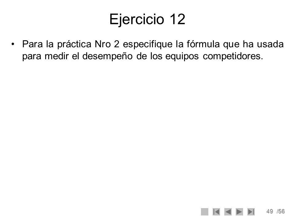 Ejercicio 12 Para la práctica Nro 2 especifique la fórmula que ha usada para medir el desempeño de los equipos competidores.