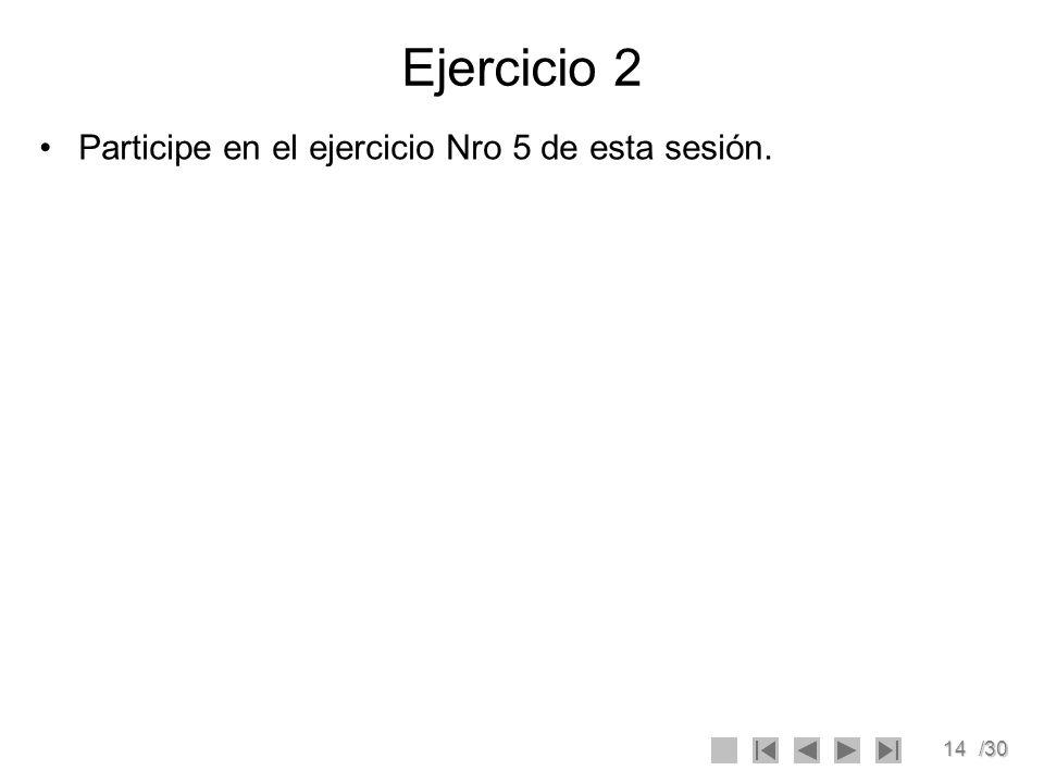 Ejercicio 2 Participe en el ejercicio Nro 5 de esta sesión.