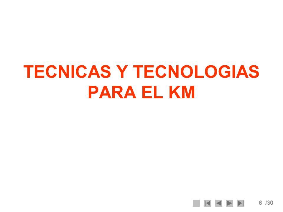 TECNICAS Y TECNOLOGIAS PARA EL KM