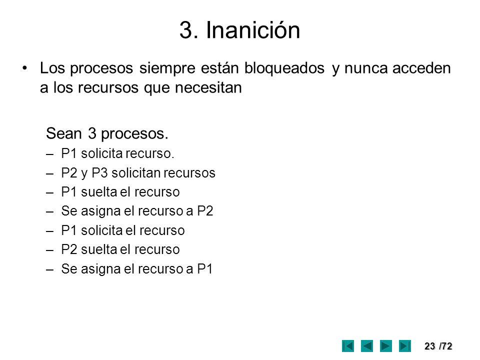 3. Inanición Los procesos siempre están bloqueados y nunca acceden a los recursos que necesitan. Sean 3 procesos.