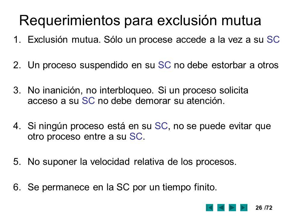 Requerimientos para exclusión mutua