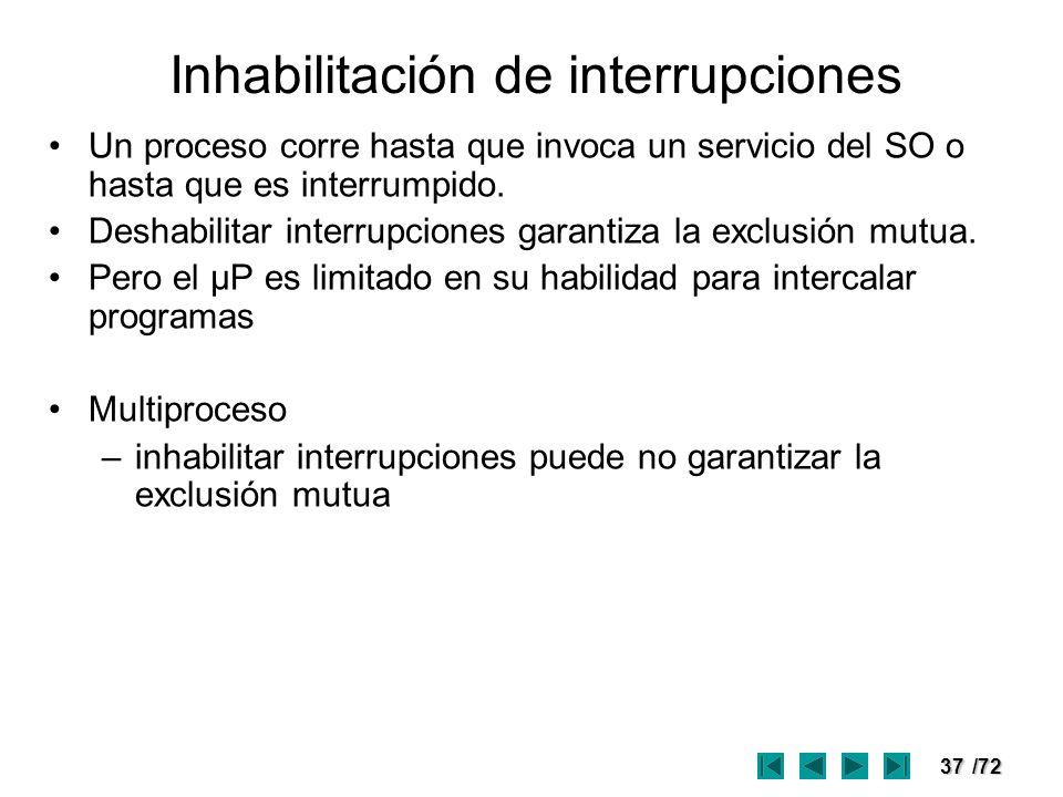 Inhabilitación de interrupciones