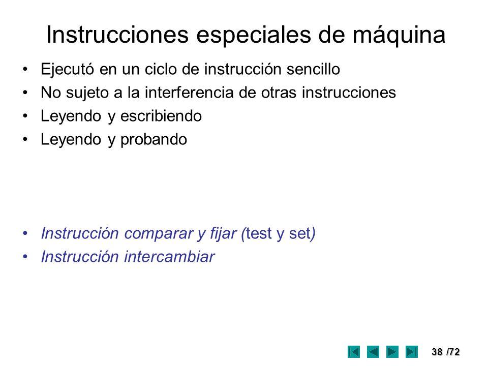 Instrucciones especiales de máquina