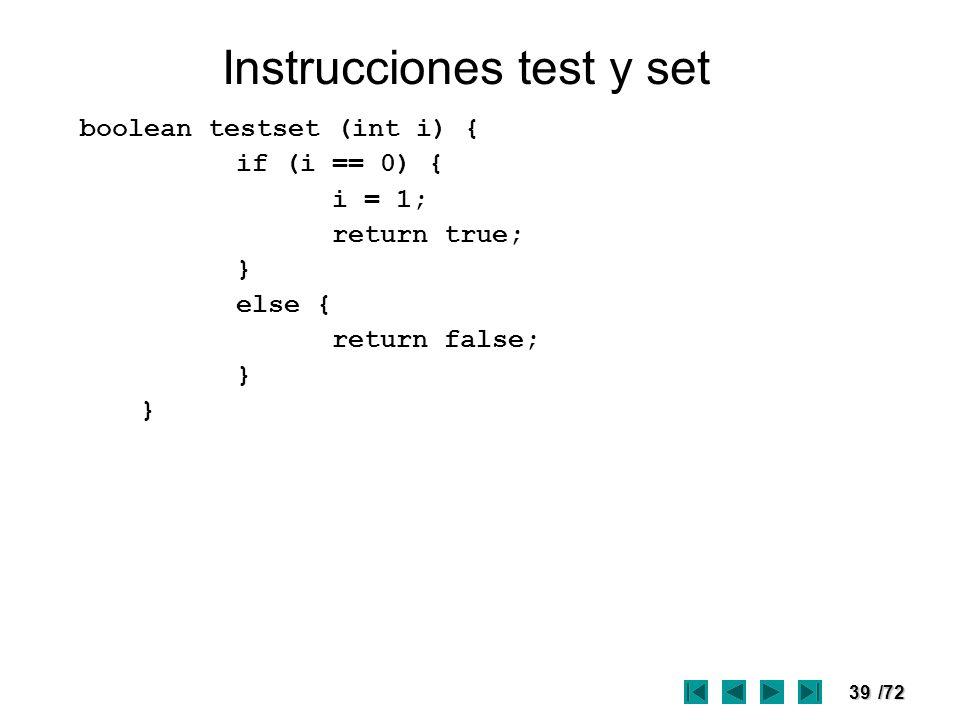Instrucciones test y set