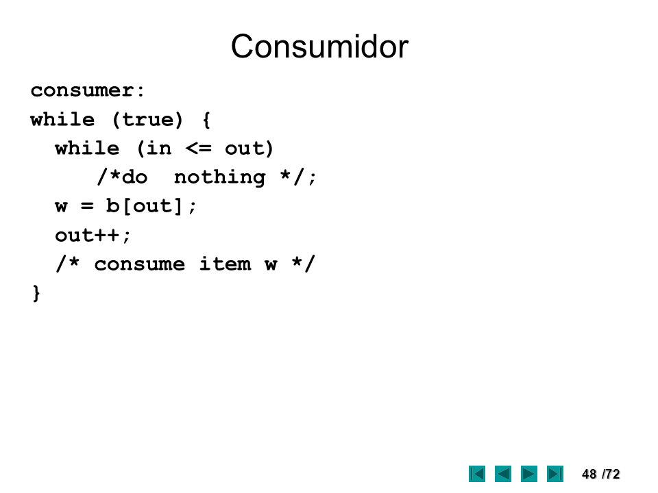 Consumidor consumer: while (true) { while (in <= out)