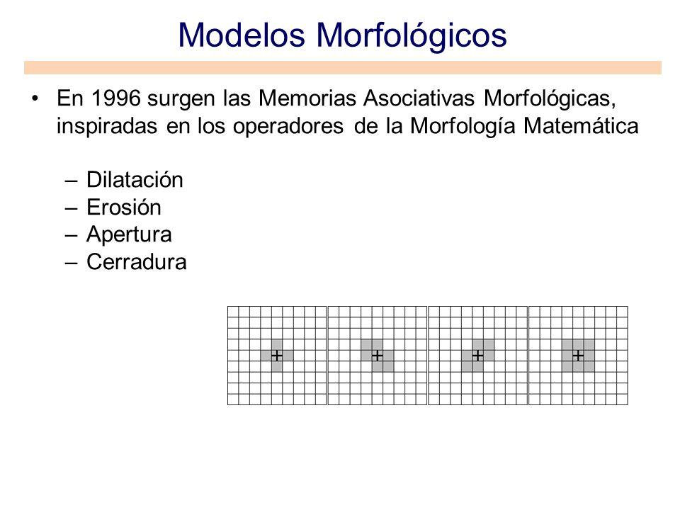 Modelos MorfológicosEn 1996 surgen las Memorias Asociativas Morfológicas, inspiradas en los operadores de la Morfología Matemática.