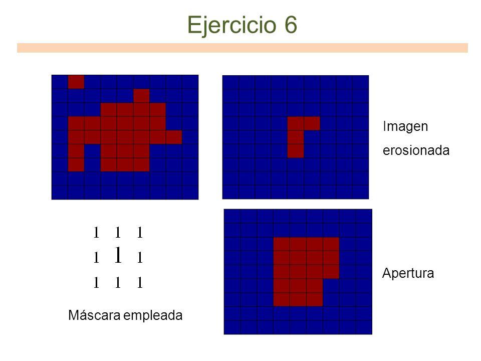 Ejercicio 6 Imagen erosionada Apertura Máscara empleada