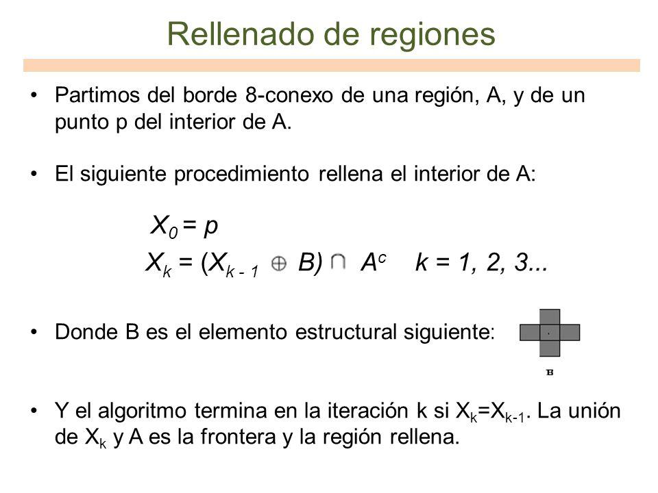 Rellenado de regiones X0 = p Xk = (Xk - 1 B) Ac k = 1, 2, 3...