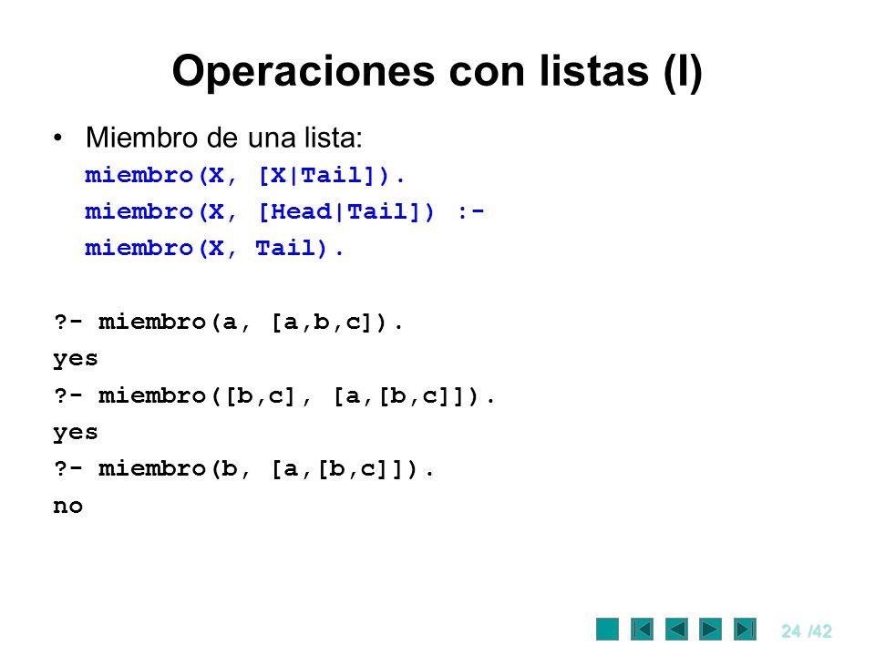 Operaciones con listas (I)