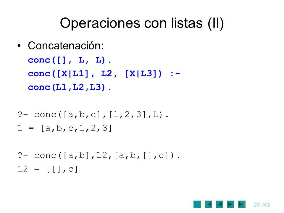 Operaciones con listas (II)