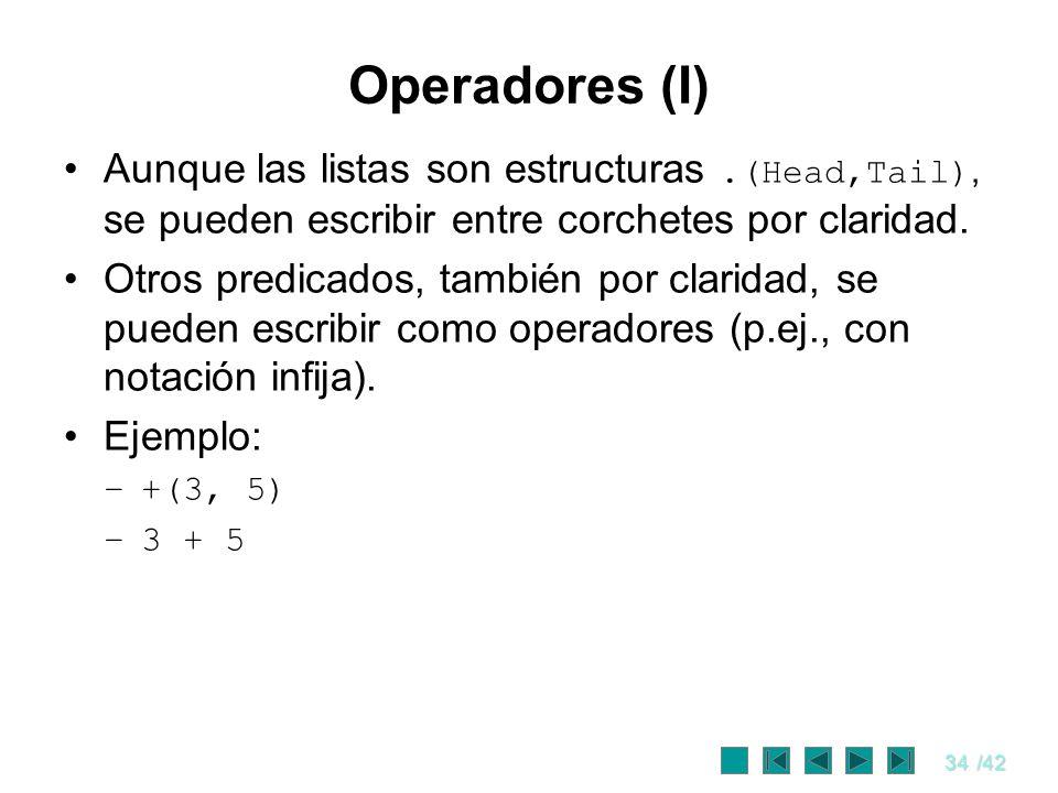 Operadores (I) Aunque las listas son estructuras .(Head,Tail), se pueden escribir entre corchetes por claridad.