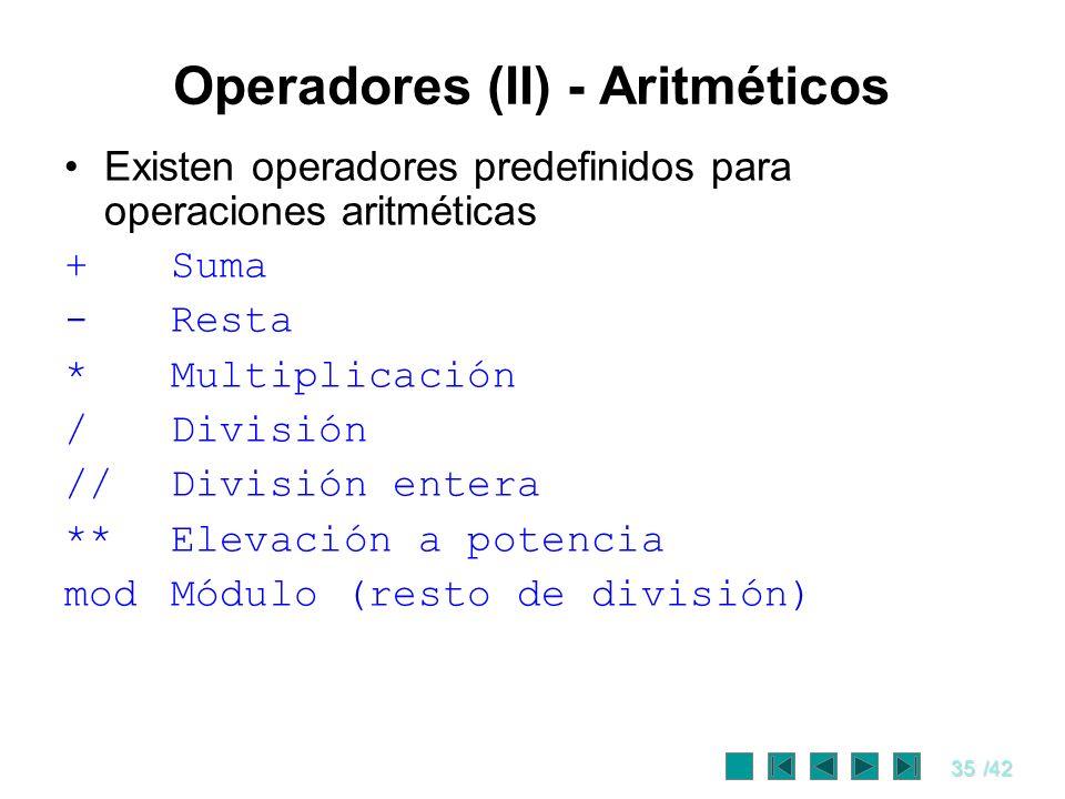 Operadores (II) - Aritméticos