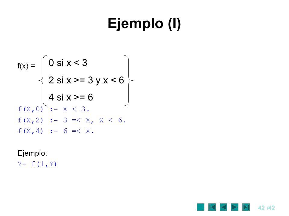 Ejemplo (I) 0 si x < 3 2 si x >= 3 y x < 6 4 si x >= 6