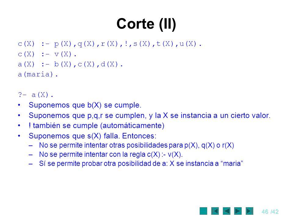 Corte (II) c(X) :- p(X),q(X),r(X),!,s(X),t(X),u(X). c(X) :- v(X).