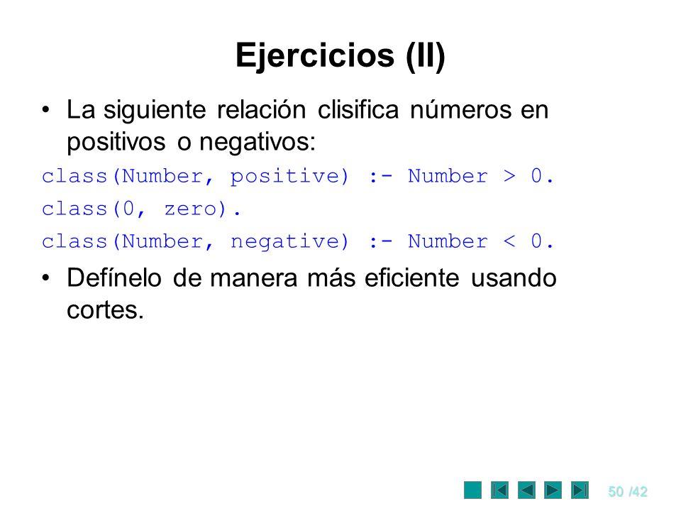 Ejercicios (II) La siguiente relación clisifica números en positivos o negativos: class(Number, positive) :- Number > 0.