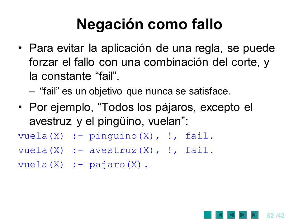 Negación como fallo Para evitar la aplicación de una regla, se puede forzar el fallo con una combinación del corte, y la constante fail .