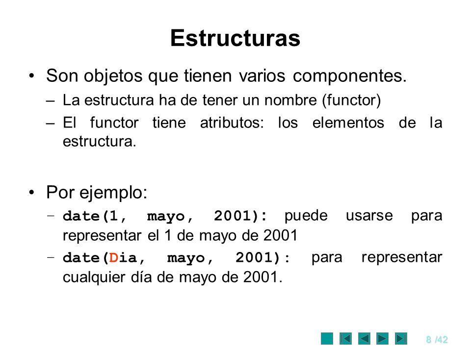 Estructuras Son objetos que tienen varios componentes. Por ejemplo:
