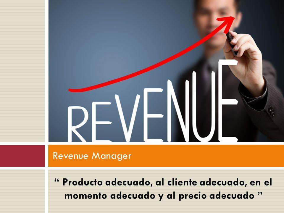Revenue Manager Producto adecuado, al cliente adecuado, en el momento adecuado y al precio adecuado