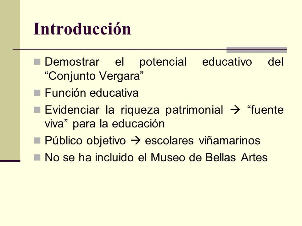 Introducción Demostrar el potencial educativo del Conjunto Vergara
