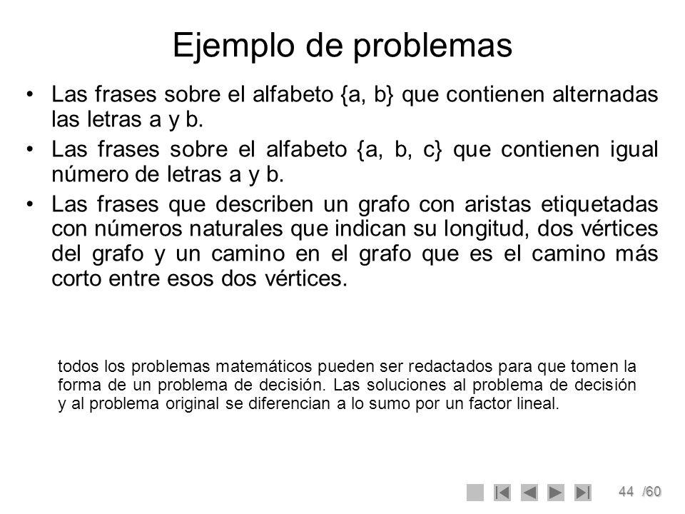 Ejemplo de problemas Las frases sobre el alfabeto {a, b} que contienen alternadas las letras a y b.